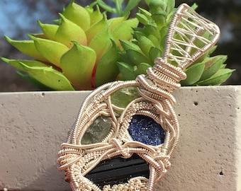Moldavite, azurite, peridot, and black tourmaline wire wrapped pendant, wire wrapped moldavite, wire wrapped azurite, tourmaline wire wrap