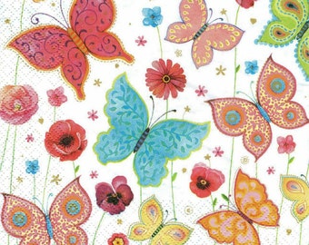 4 Butterfly Decoupage Napkins, Paper Napkin for Decoupage, Butterfly Decoupage, Craft Napkin, Decoupage Napkin, Decoupage Paper