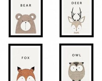 Set of 4 Woodland Cute Animal A4 Art Prints