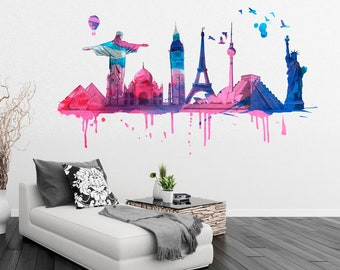 Wall Art, Monuments, Office Decor, Office Wall Art, Wall Decals, Decals, Stickers, Home Decor, Watercolor, Wall Stickers, Gifts - SKU:WTS