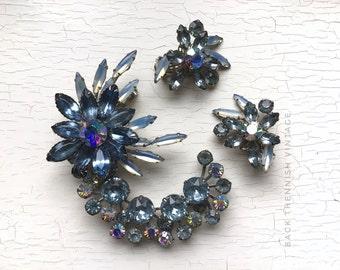 Brilliant 50's Crescent Floral Cluster Set w Clip on Earrings Rockabilly Era Clear AB Aurora Borealis Ice Blue Rhinestone Crystals