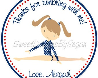 Gymnastics Party Favor Tags - DIY - Printable File -   Gymnastics Birthday Favors - Printable Gymnastic Favor - Red White and Blue Gymnastic