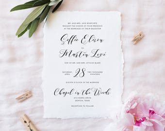 Printable Wedding Invitation Suite | Classic Wedding Invitations | Simple Wedding Invites | Modern Invites | Minimalist Invites | WI-019