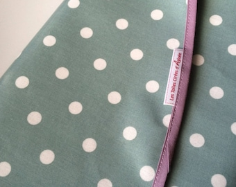 ROUND cloth cotton celadon blue white polka dot tablecloth - 142cm