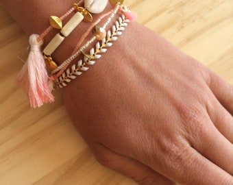 MULTISTRAND bracelet summer white and pink tones