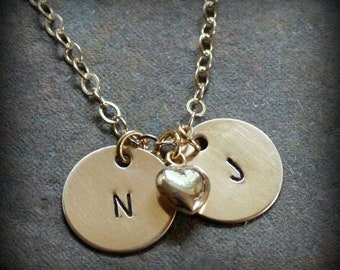 Gold Fill Petite Initials Hand Stamped Personalized Mommy Initial Couple Birthstone Necklace