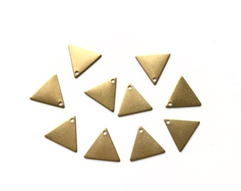 10pcs raw brass triangle connectors, triangle charms, stampings, 1 hole, 13mm