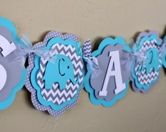 Elephant It's A Boy or Name Banner Chevron Stripe and Polka Dot Turquoise Blue Gray Baby Shower Birthday Party Decorations Banner Gender