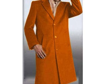 ALBERTO NARDONI Mens Full Length Overcoat Winter Coat Rust Wool 3 Button High Quality