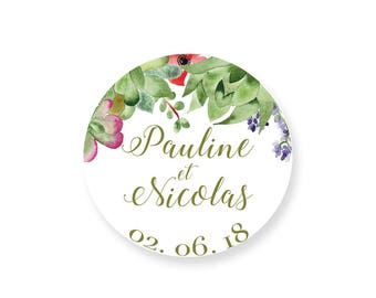 Cactus Succulentes Wedding sticker personalized with names - Bohemian Palm Springs Wedding tag - Floral wedding sticker - Greenery Tag