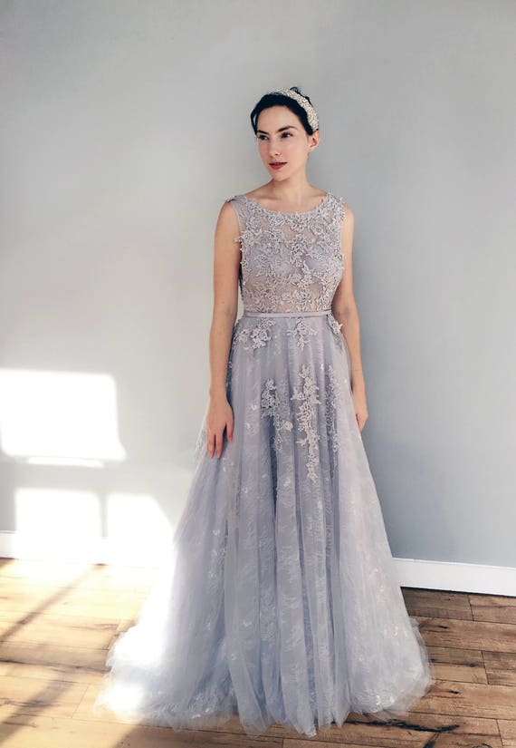Gray blue lace wedding dress junglespirit Images