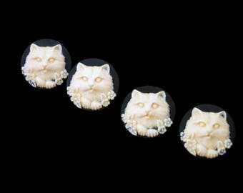 4 Kitty Cat Buttons Black and Ivory Colored Full Face 4 Cat Buttons 3D Wedgewood Cat