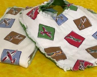 Airplane Bib and Burp Cloth set