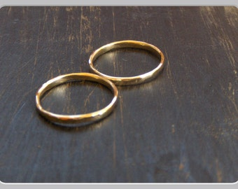 Solid Gold Wedding rings 14 K 1.8 mm His & Hers matching 14K Bands. rustic hammered, smooth flat, smooth rounded. Featured on REaL WeDDiNgs