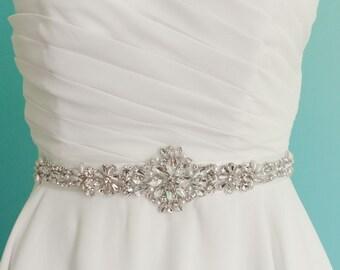 bridal belt, pearl and crystal wedding sash belt, wedding sash belt, jeweled belt,  bridal pearl belt, rhinestone belt, thin wedding belt
