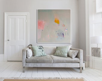 Large Print of beige, pink and yellow abstract painting, giclée print, expressionist painting **Desert Dreamer 3**