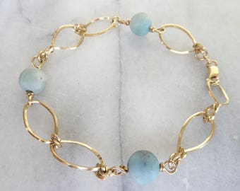 Pale blue amazonite beads with gold filled links bracelet