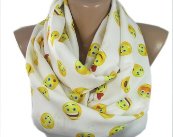 Clothing Gift Emoji Scarf Smiley Infinity Scarf Emoticons Scarf Emotions Scarf Winter Scarf Accessories Holiday Christmas  Teen Gift For Her