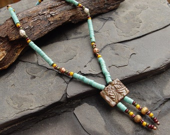 Stoneware Slider Bead Pendant, Turquoise, African Brass, Glass Beaded Necklace