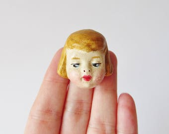 Antique Doll Brooch Sophie - Handmade Creepy Doll Pin