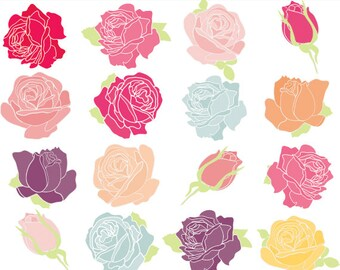 Roses clipart - floral clipart flowers hand-drawn handdrawn pink blue yellow purple shabby for personal commercial use chic roses romantic