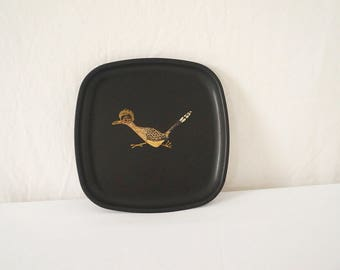 Vintage Couroc of Monterey Tray with Road Runner Bird