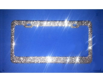 BEST SELLER SILVER Diamond Sparkle like Bling Sparkly Real Glitter License Plate Frame