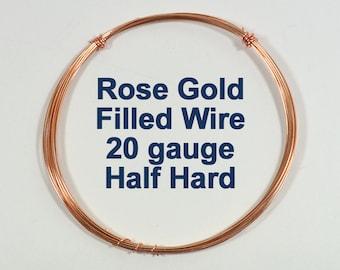 Rose Gold Filled Wire - 20ga HH Half Hard - Choose Your Length