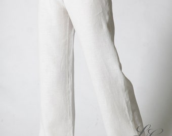 Linen White Pajama Trouser/ Just Classical Linen Pajama Trouser for Woman/Linen Loungewear