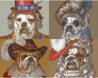 Bulldog Society - 4 Art Prints - American, French and English Bulldogs - Dogs in Clothes - Funny Pet Portraits by Maria Pishvanova