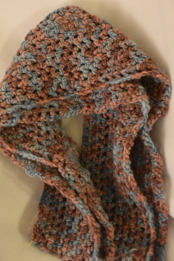 Cotton Candy Infinity Scarf -- Handmade Crochet Scarf in Soft Blue & Pink