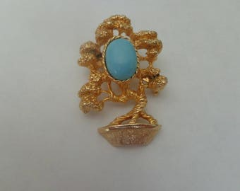 Vintage Amway Bonsai Tree Brooch Unique Blue Stone Vintage Brooch, Tree Brooch, Brooch Vintage Tree, Unique Brooches, Teal Gold Tone Pin