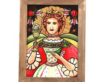 Saint Barbra /  glass painting / folk glass painting/ polish folk art