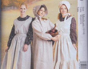 McCalls M7220 Misses Pioneer Costume Dress Bonnet Pinafore Apron UNCUT Sewing Pattern