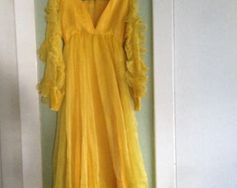 Yellow Chiffon Dress – 1970's maxi dress - vintage couture - long dress - 1970's vintage gown - vintage - formal - prom - troppobella