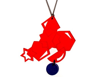 Statement geometric Pendant Necklace - Red