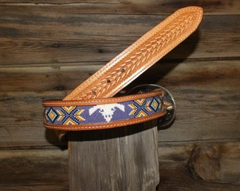 Western Beaded Insert Into Leather Belt