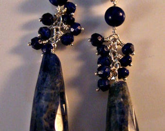 Blue Lapis Cluster Earrings, gemstone earrings, silver earrings, cluster earrings, drop earrings, dangle earrings,sterling silver earrings