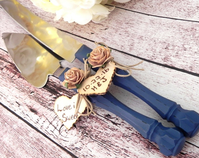 Rustic Fall Wedding Cake Server And Knife Set, Navy Blue and Mocha/Light Brown, Personalized Wooden Heart, Bridal Shower Gift, Wedding Gift