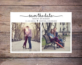 Save the Date Postcard, Save-the-Date Card, Calendar, 2 Photos, DIY Printable, Digital File – Henley