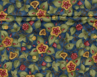 Emily's Memories by Red Rooster Flowers on Blue 1.5 Yards Fabric