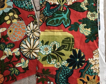 Schumacher Chiang Mai Dragon linen fabric 2 red project remnants rare opportunity..wide ideal cushions