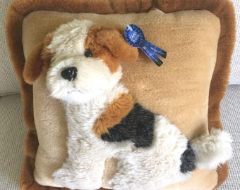 JAAG Plush Terrier Wire Fox Stuffed animal DOG pillow NWT