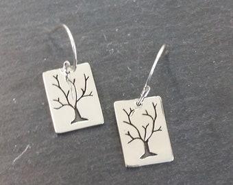 Sherwood Tree Silver Hook Earrings