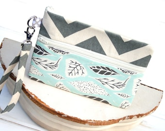 Cell Phone Clutch, zipper pouch for iPhones, Samsung Galaxy Phone Wristlet  SAMPLE SALE - Grey Chevron and Leaf Pattern