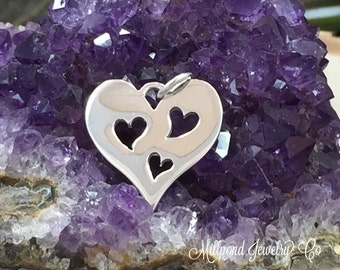 Heart Charm, Heart Pendant, Three Cut Out Heart Charm, Sterling Silver Heart Charm, Heart Cut Out Charm, Mother And Child Charm, PS01226