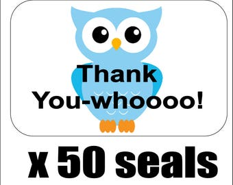 """50 Blue Owl Thank You Envelope Seals / Labels / Stickers, 1"""" by 1.5"""""""