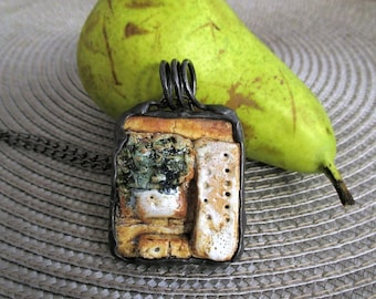 necklace with old ceramic piece, metalwork, handmade