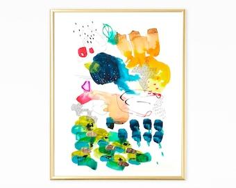 Original art painting, abstract wall art , Abstract Painting, Colorful Wall art with gold leaf, original art abstract
