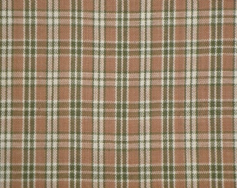 Cotton Fabric | Cotton Homespun Fabric | Plaid Fabric |  Brown, Green And Natural Plaid Fabric | Doll Making Fabric | Curtain Fabric